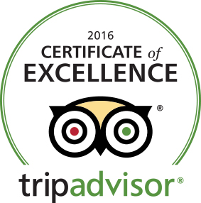 2016 Tripadvisor Certificate of Excellance